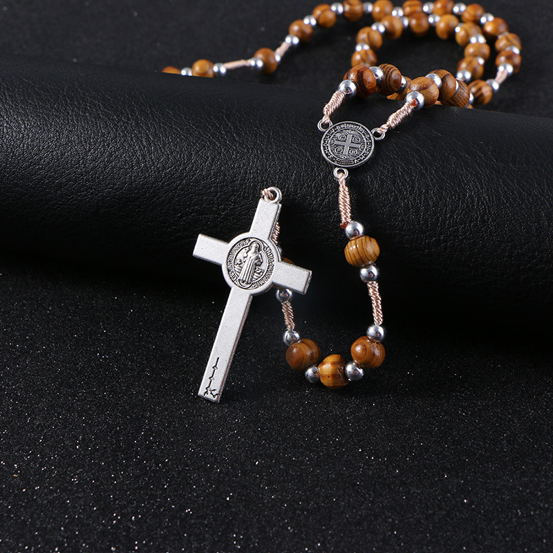 Komi Retro Wooden Rosary Beads Necklace For Women Mother Gifts Saint Benedict Medal Cross Jesus Pendant Religious Jewelry R-158
