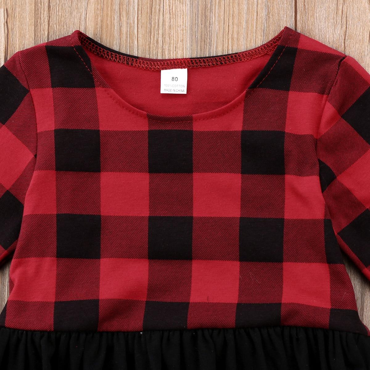 Baby Girl And Big Sister Red Buffalo Plaid Ruffled Outfits