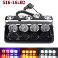 48 W Pára Sinal de Flash Strobe Carro Levou Luz de Emergência Da Polícia Bombeiro Beacon Luz de Advertência do Viper S16 Holofotes Azul Vermelho