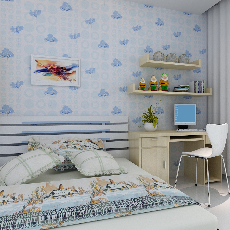 Kids Room Wallpapers Girls Bedroom Nonwovens Warm Korean Style ...