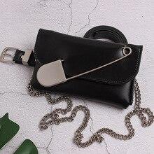 2019 Trend Design Big Pin Pu Leather Belt bag for women chain belt black punk Waist pack Handbags Messenger Coin Purse Hot