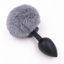 Anal Plug Metal Plush Ball Big Gray Rabbit Tail Butt Stopper Prostate Massager Butt Plug Anal Sex Toys for Couples H8-64D(China)