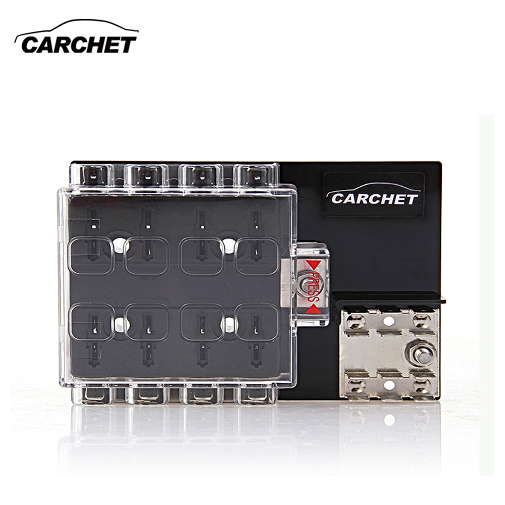 CARCHET Universal Fuse Box Board 8-way Block Circuit Fuse Holder with Cover 32V Accessory Tool For Vehicle Car Truck 2017 NEW