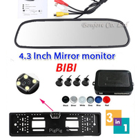 3 in 1 Auto Video Parking 4 Sensor Assistance System + License Plate Frame Rear View Camera + 4.3 inch LCD Car Mirror Monitor