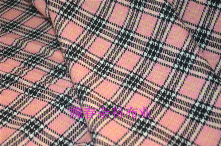free ship 80% wool tweed fabric pink weaved price for 1/2 meter