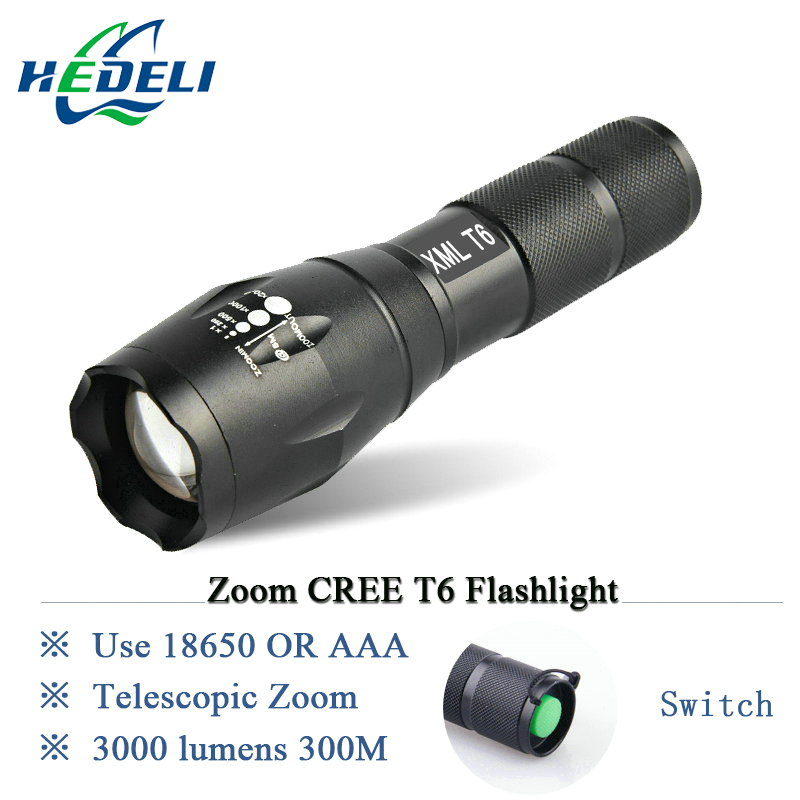 Portable flashlight cree xml T6 led waterproof Zoomable Torch lights Bright penlight Lanterna use 18650 rechargeable battery crazyfire high power 1000lm led cree xml t6 lanterna torch mini flashlight 5 modes waterproof zoomable penlight by 18650 battery
