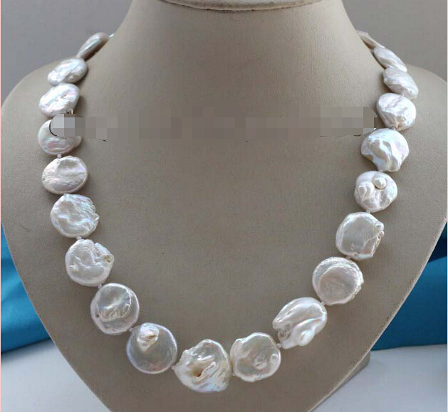 Free Shipping  Genuine Natural 20mm White Reborn Keshi Pearl Necklace  #f2394! ()