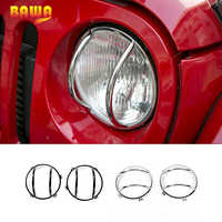 BAWA Front Head Light Cover for Jeep Wrangler JK 2007-2017 Metal Lamp Hoods Car Accessories Decoration