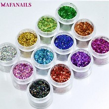 1Box 10grams Holographic Laser Glitter Powder 12 Colors Mix Size Shiny Dust Manicure Decorations FMA-01##