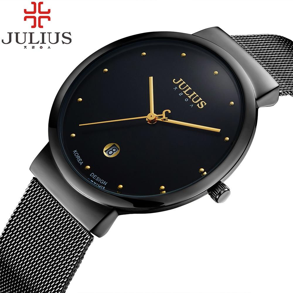 Prix pour JULIUS Marque De Mode Femmes Montres Horloge De Luxe En Acier Or Dames Montre Femme Date Quartz Lovers Montre-Bracelet Relogios Montre