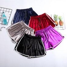 Short en Satin pour femmes, short élastique, ample, taille haute, solide, à la mode, Slim, décontracté, à lacets
