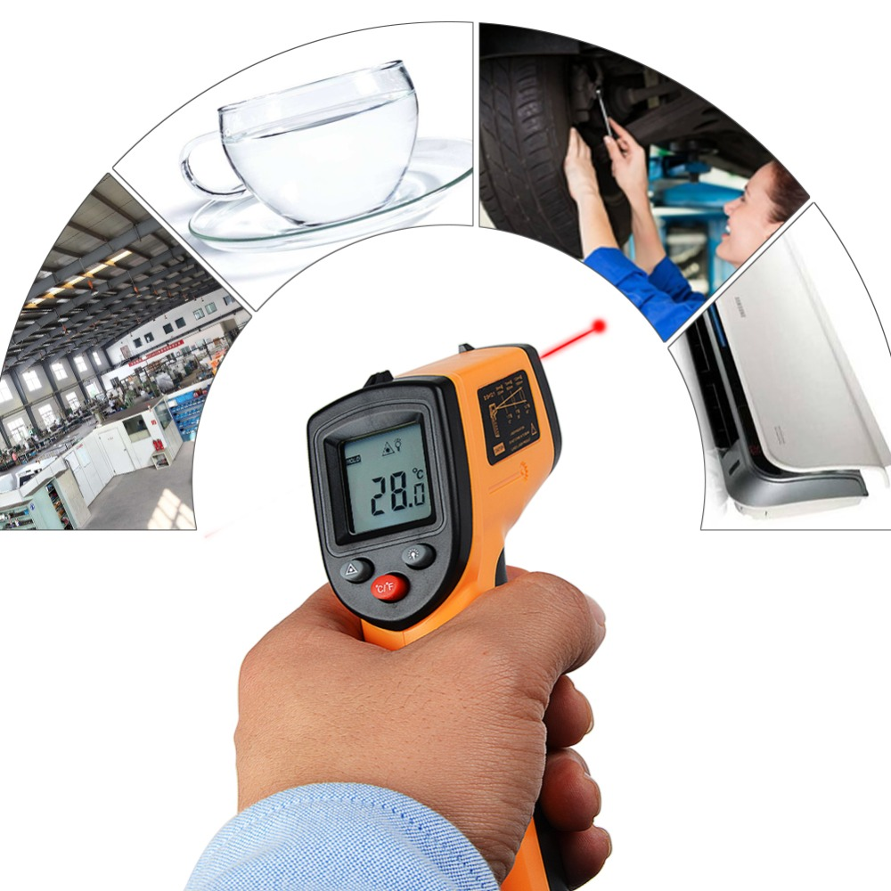 New GM320 Laser LCD Digital IR Infrared Thermometer Temperature Meter Gun Point -50~380 Degree Non-Contact Thermometer P15