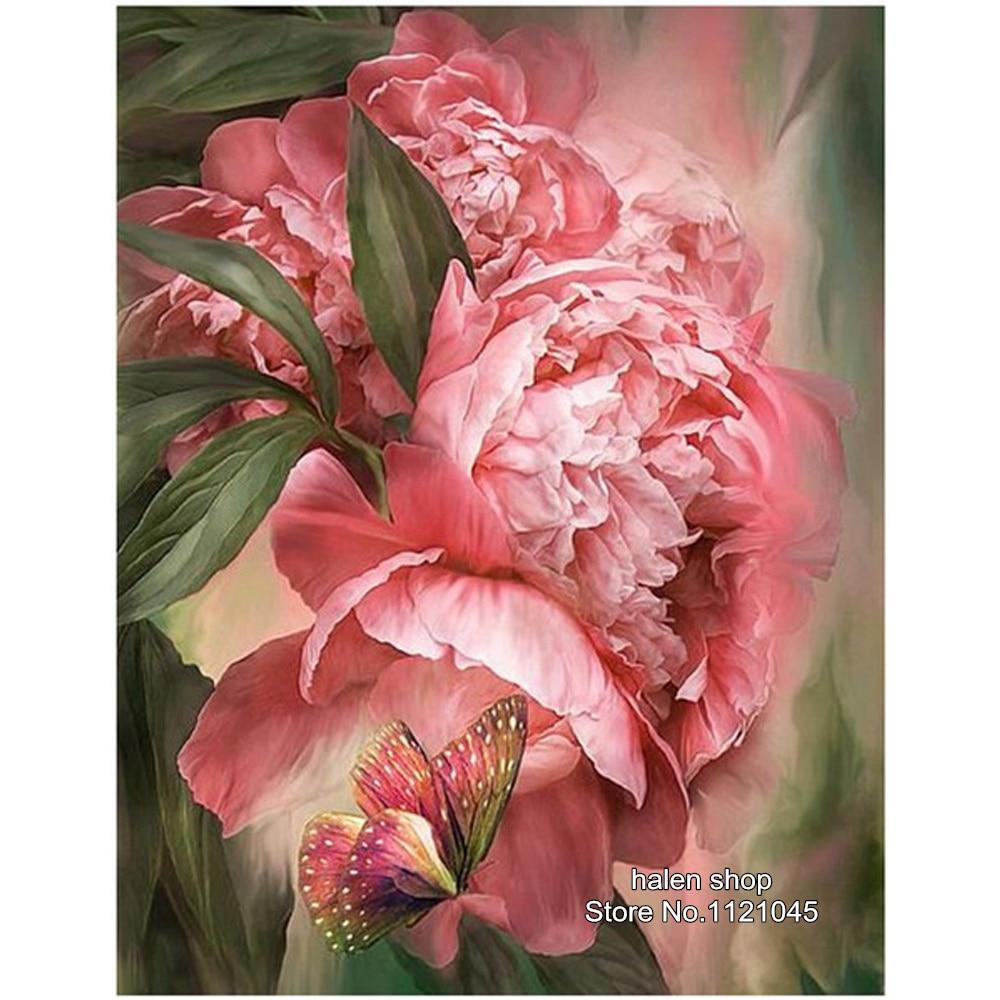 ②Diy Diamond Paintings Cross Stitch Pink peony Resin Needlework ...