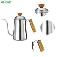 650มิลลิลิตรยาวแคบพวยหม้อกาแฟที่มีฝาปิดแขวนหูมือทื่อเทกว่าหยดหม้อสำหรับกาแฟด้วยไม้จับ