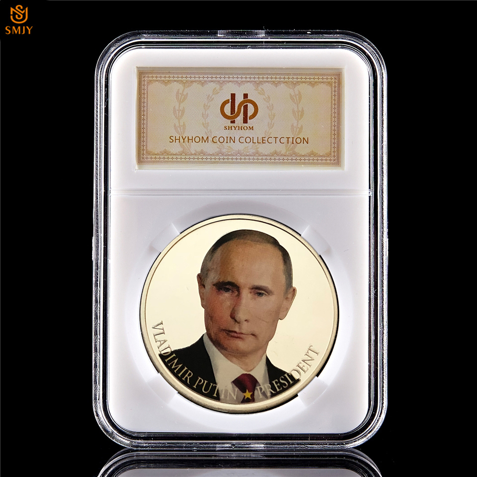 Russian President Vladimir Putin Commemorative Coin SilverPlated w// Protect Case