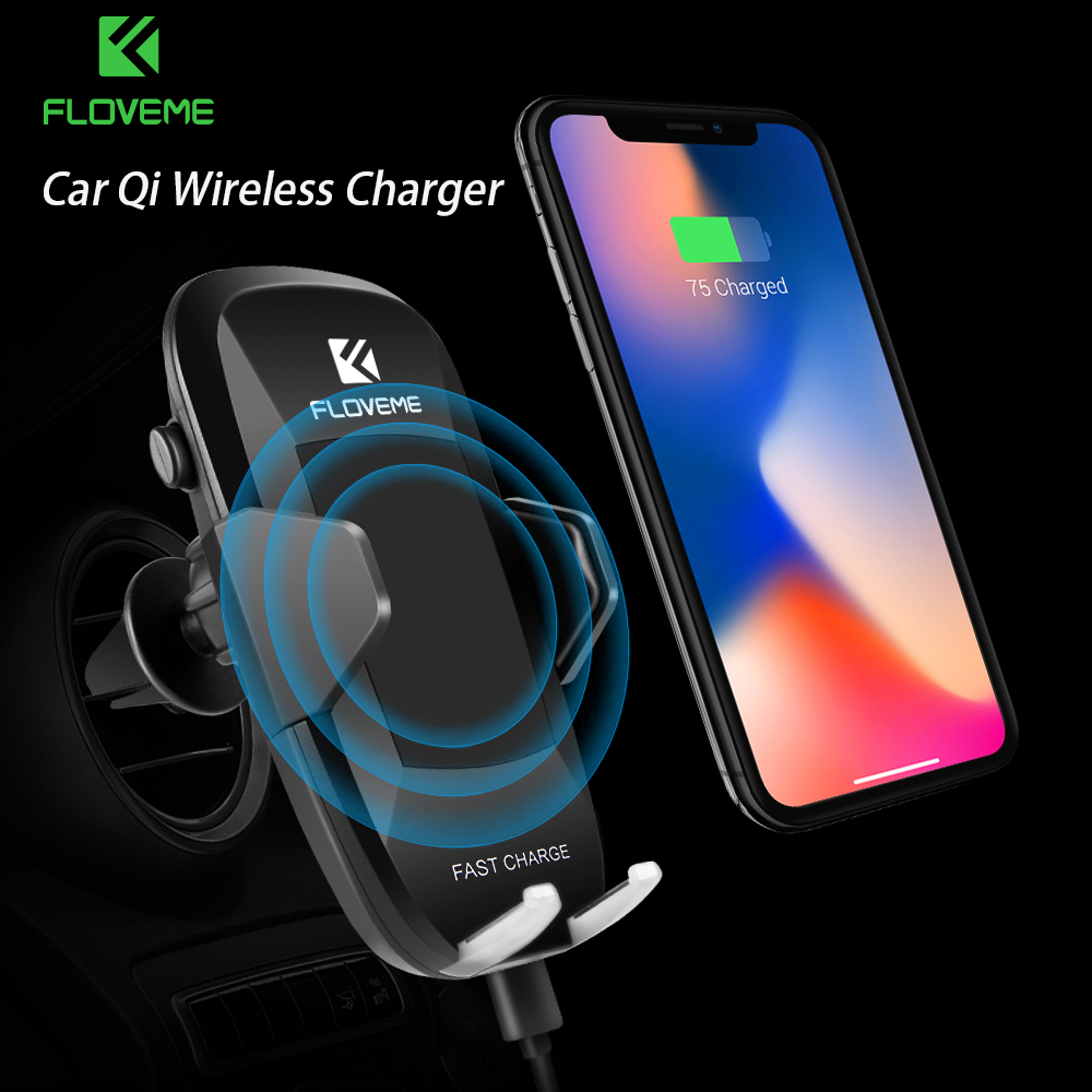 FLOVEME Car Qi Wireless Charger For Iphone X 10 8 Plus 5V/2A Fast Charging 360 Rotation Car Holder For Samsung Note 8 S8 S7 Edge