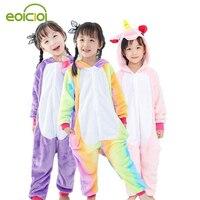 Flannel Winter Pegasus Christmas Pajamas Blue Pink Unicorn Pajamas For Girls Cartoon Animals Hooded Sleepwear Boy