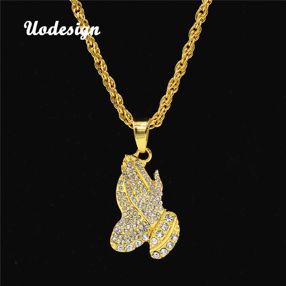 Uodesign Hiphop Jesus Praying Hands Pendant Necklace Iced Out Gold Color Charm Pendant with Chain Fashion High Quality Necklace