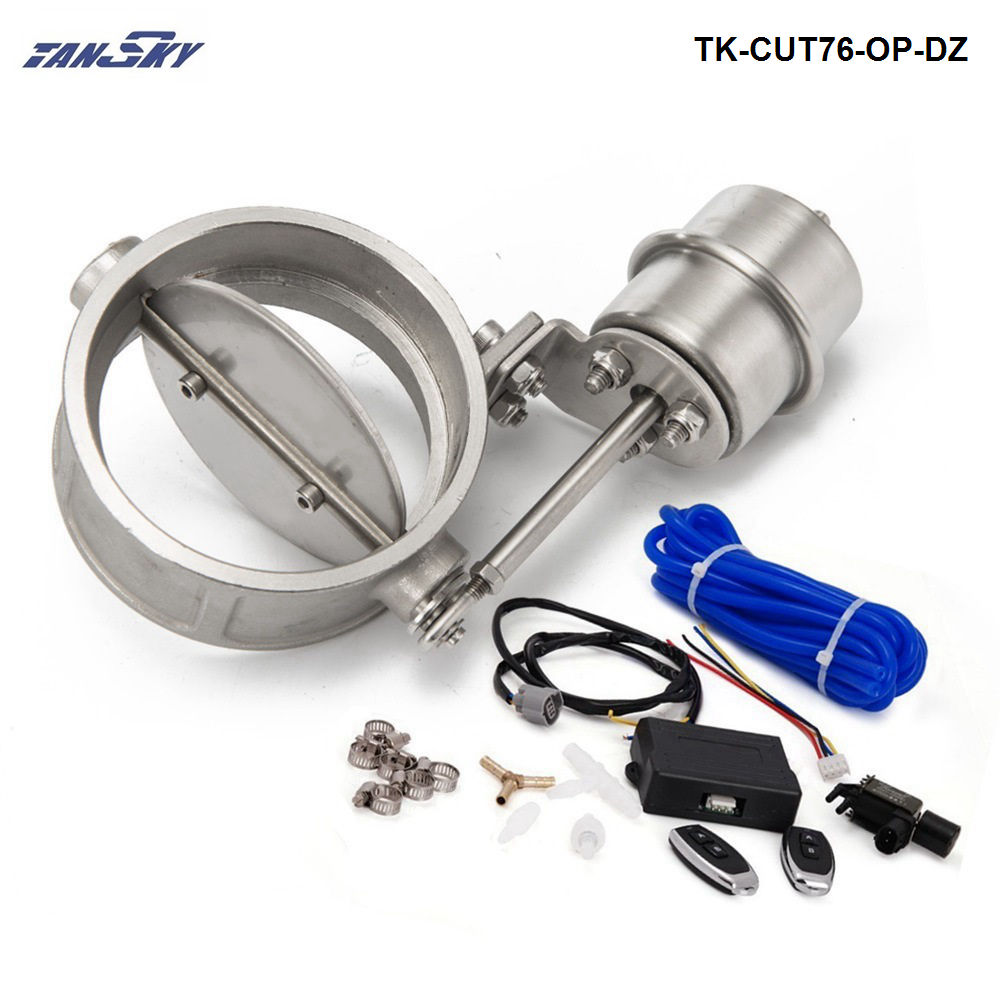 Exhaust Control Valve Set With Vacuum Actuator CUTOUT 3 76mm Pipe OPEN STYLE with Wireless Remote Controller TK-CUT76-OP-DZ exhaust control valve set cutout 3 76mm pipe close style with vacuum actuator with wireless remote controller set tk cut76 cl dz