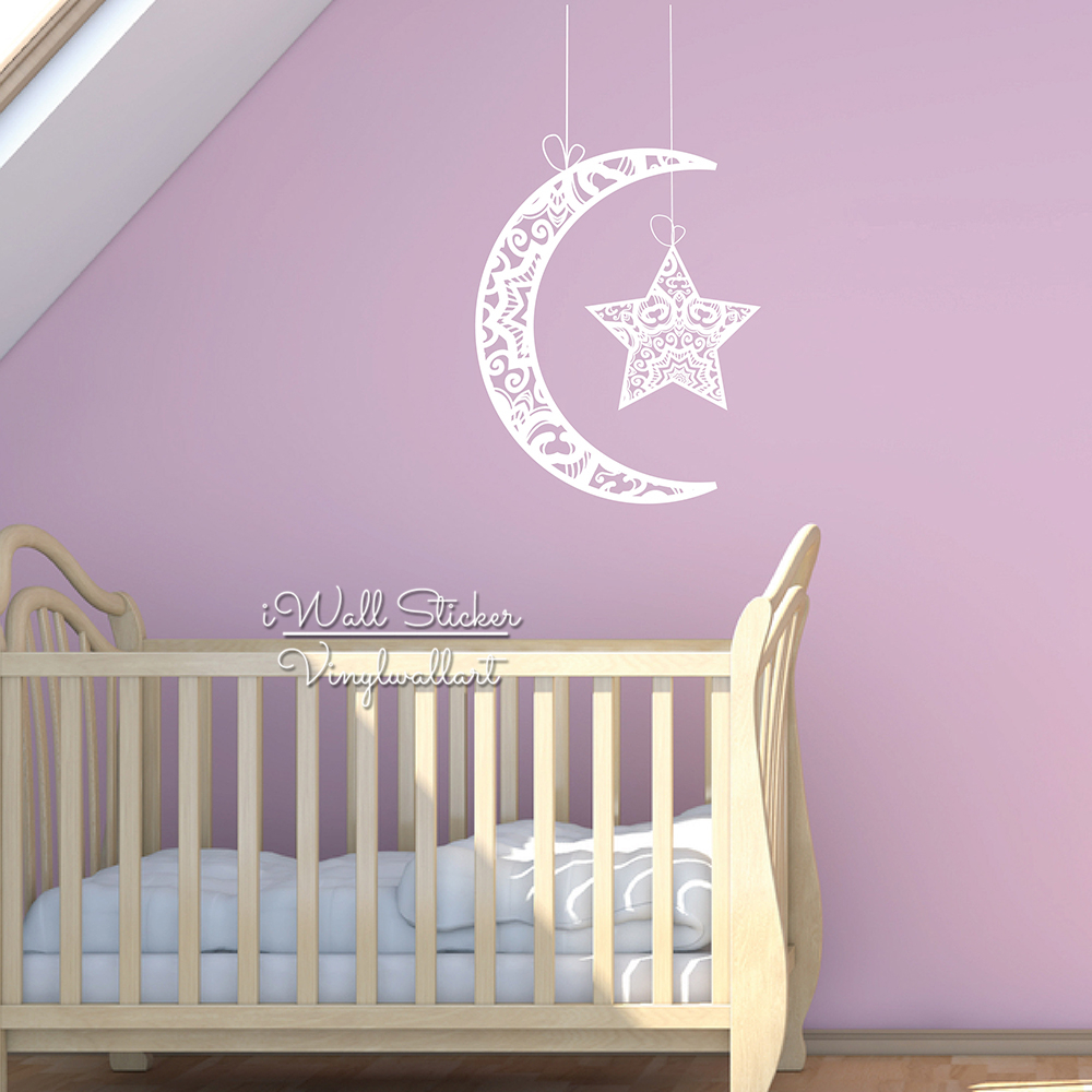 Baby nursery moon star wall sticker star moon wall decal for Amazing look with moon and stars wall decals