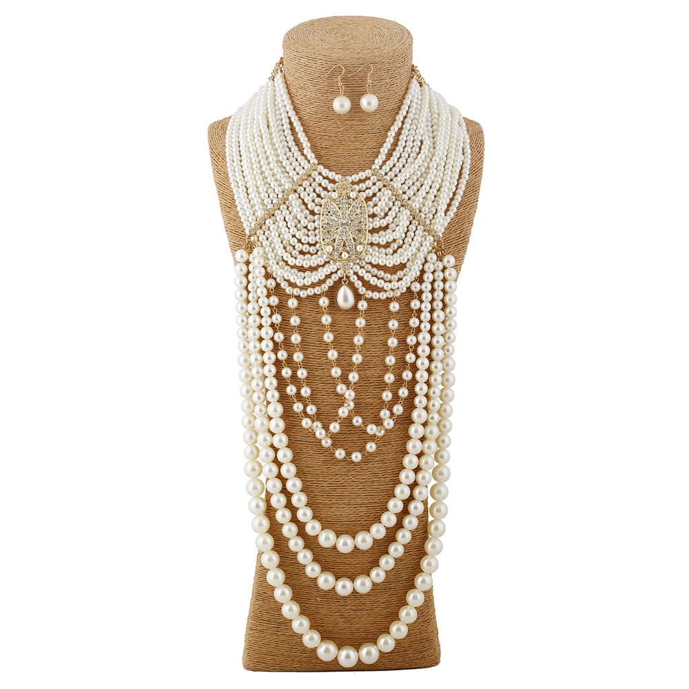 Luxurious Multilayer Pearl Tassel Jewelry Set Elegant Vintage Pearl Pendant Choker Necklace Earrings For Party Wedding Jewelry stylish multilayer pu leather tassel pendant necklace for women