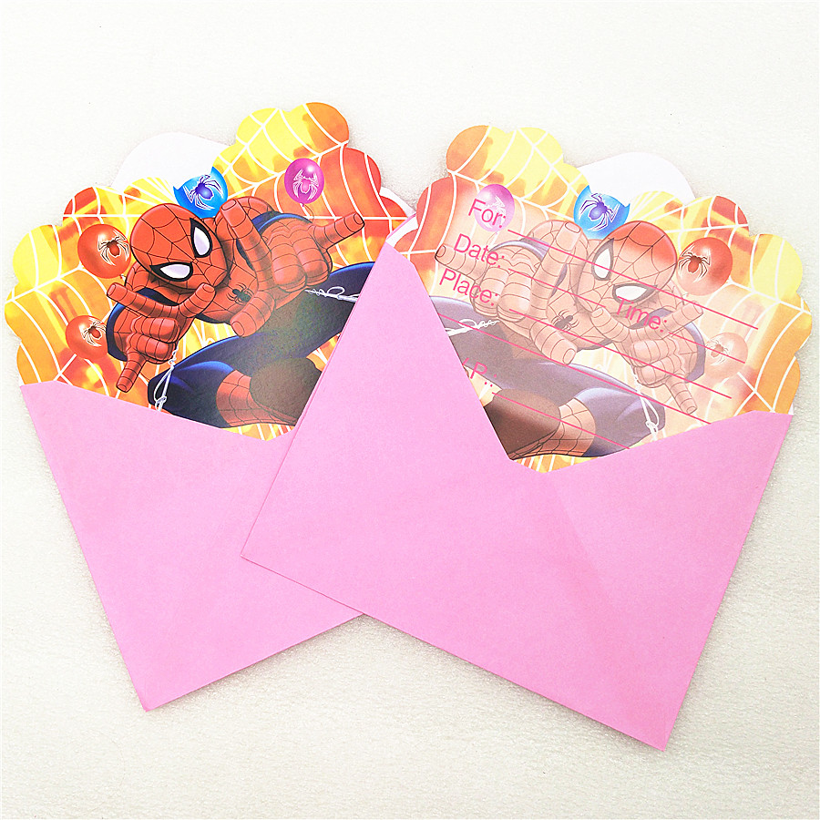 6pc Spiderman Party Decoration Invitation Card Envelopes For Kids ...