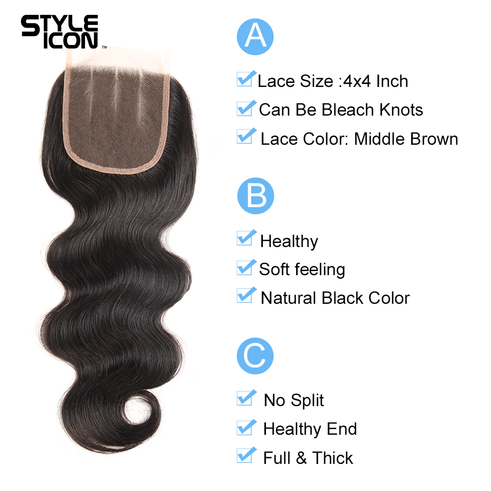 Styleicon Human Hair Bundles With Closure Mongolian Hair Extension Body Wave 4 Bundles With Lace Closure Non Remy Free Shipping
