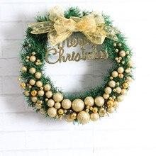Christmas Wreath New Mini Christmas Gold Decorative Balls With Big Golden Bowknot Nice Gift Xmas Wreath In Cartoon Box Dia 30cm