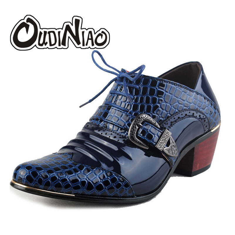 OUDINIAO Men Formal Shoes Pointed Toe Fashion Men Oxfords British Style High Heels Hasp Lace Up Snake Skin Shoes Male Footwear