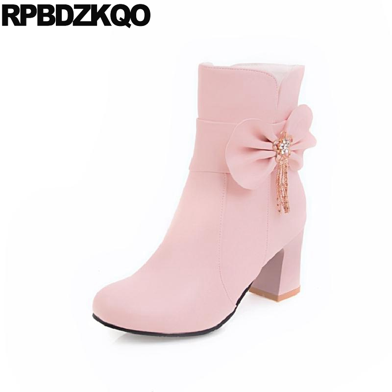 Shoes Bow Chunky Metal Kawaii Big Size Fur Women Ankle Boots Medium Heel 10 Winter Cute Pink High Round Toe Chinese New Fashion inc new pink paisley print studded cutout women s size medium m blouse $69 049