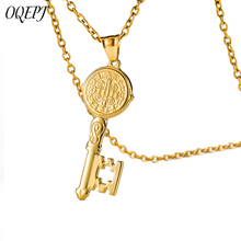 OQEPJ Catholic Church Saint Benedict Key Necklace&Pendant Stainless Steel Gold Silver Color Necklaces Unisex Women Men Jewelry