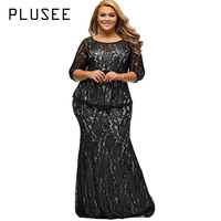 Plusee Plus Size Lace Dress Women Bodycon Sexy Round Neck Autmn Party Gown Ankle Length Big