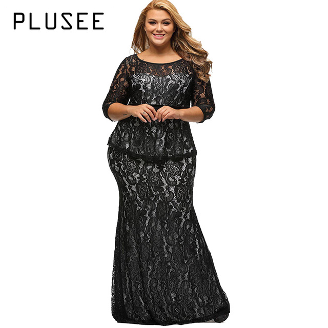 Aliexpress Buy Plusee Plus Size Lace Dress Women Bodycon Sexy