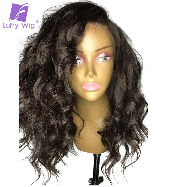 Luffy 150% Density Glueless Front Lace Human Hair Wigs With Baby Hair Wavy Peruvian Non-remy Hair Pre Plucked Natural Hairline