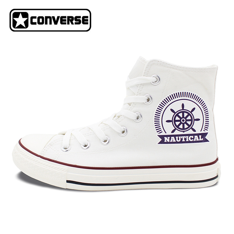 2017 New Converse Shoes Flat Sailor Design Nautical High Top White Canvas Sneakers Men Women All Star Shoes Gifts women men converse all star canvas shoes vocaloid hatsune miku expo design hand painted sneakers skateboarding shoes gifts