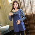 Plus Size Maternity Blouses Cotton Long Sleeve Nursing Clothes for Pregnancy Breastfeeding Shirt for Pregnant Women