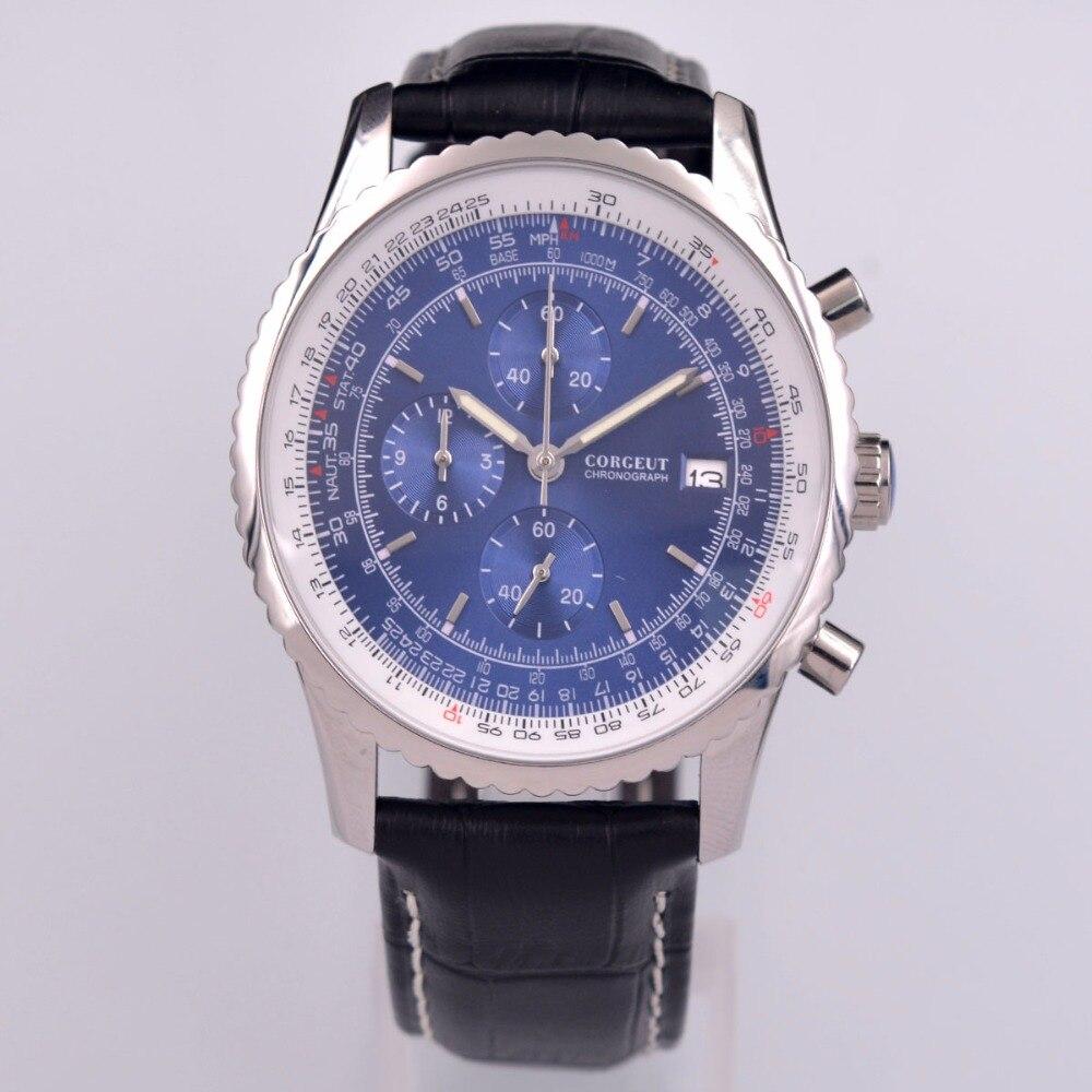 46mm corgeut 블루 쿼츠 스포츠 시계 남성 시계 전체 크로노 그래프 가죽-에서수정 시계부터 시계 의  그룹 1