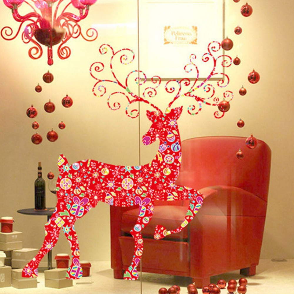 Christmas Wall Sticker Red Deer PVC Bell Wall Decals Home Decor Kids ...