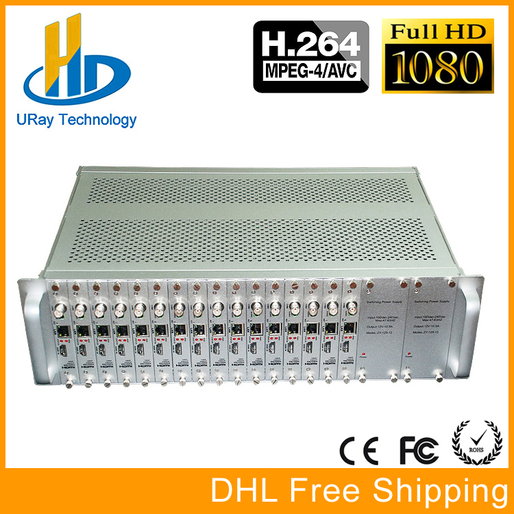 DHL Free Shipping 3U Chassis 16 Channels H264 HDMI + CVBS AV RCA /BNC HD SD UDP Encoder H.264 For Live Streaming, Hotel IPTV
