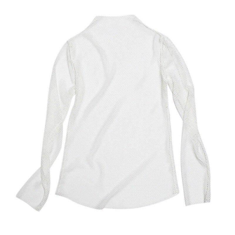 Damski kabaretki na szyję z długim rękawem przezroczysty T-shirt topy Hollow Out przezroczysta siateczka T-Shirt 4