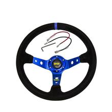14 Inch Blue Steering Wheel 350mm OMP Deep Corn Drifting Cover Decoration Car Interior Accessories