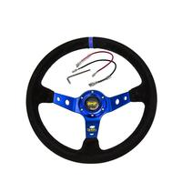 14 Inch Blue Steering Wheel 350mm OMP Deep Corn Drifting Steering Cover Decoration Car Interior Accessories