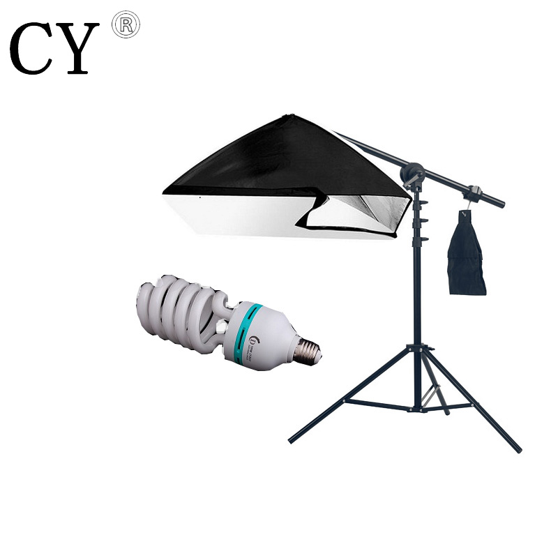Lightipfoto Studio Hairlight Boom Arm with 50*70cm softbox 300 light stand 115W light bulb kits softbox  lighting kits PSBA1B2 onetigris 360 adjustable microphone stand broadcast studio mic suspension boom scissor arm stand