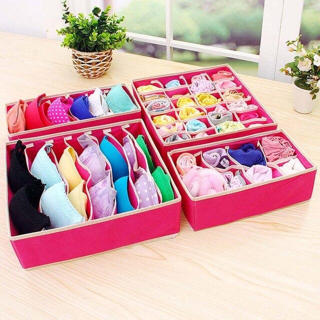 6-24 Grid Underwear Storage Box Sock Storage Box Fabric Bra Storage Box For Living Room Bedroom Supplies
