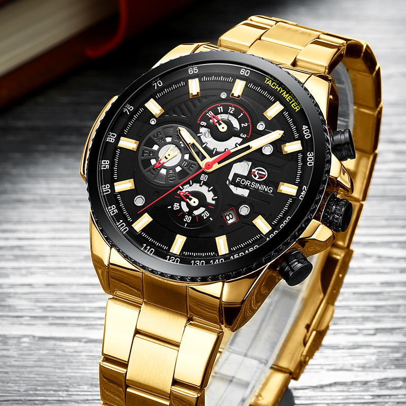 Drop Shipping Forsining Top Brand Men Mechanical Watch Automatic Fashion Luxury Stainless Steel Male Clock Relogio Masculino