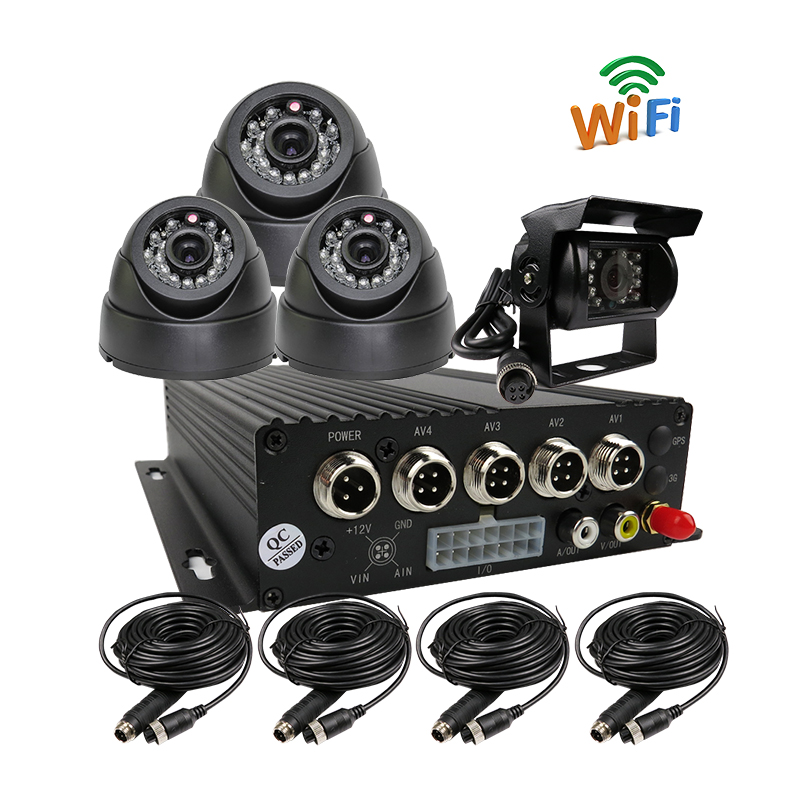 Free Shipping H.264 4CH SD WiFi Mobile Car DVR Recorder Phone PC Real time View + Car Rear View in-car Camera for Truck Van Bus free shipping 4 ch 4g gps vehicle car dvr kit h 264 g sensor mobile dvr pc phone real time view duty cctv camera for car truck