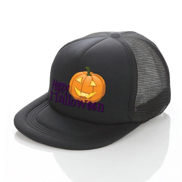 Happy Halloween Trucker Hat Ghost Bat Pumpkin Spider Wizard Print Snapback  Hat Jack-o-lantern All Saints  Day Cosplay Cap YF035 944e83ec869