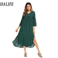 HALIFE Women V Neck Flare Sleeve Maxi Long Tent Dress Split Hem Bohemian Beach Loose Casual