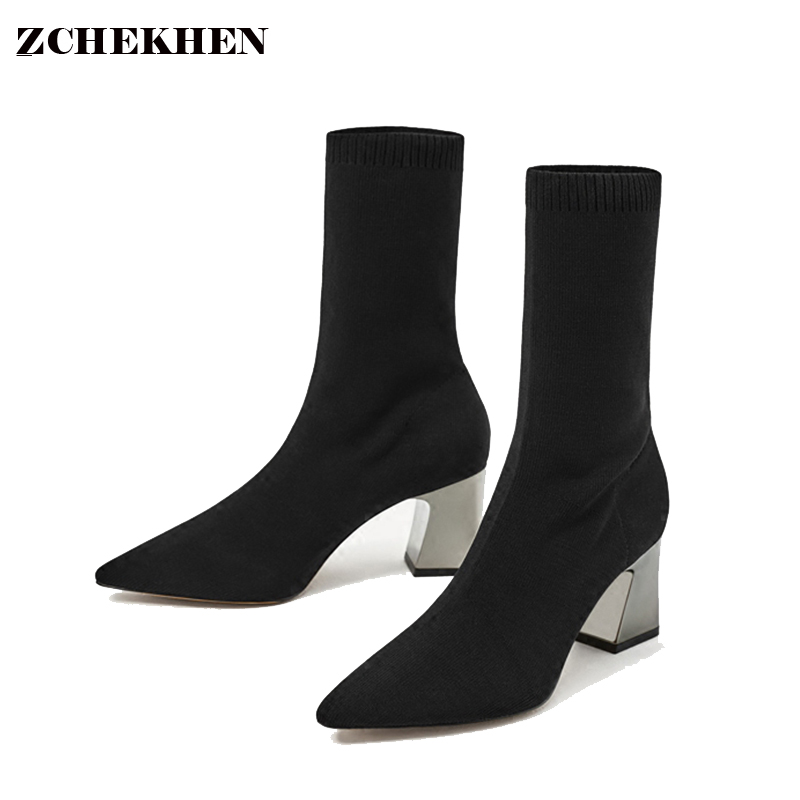 Fashion Kardashian Ankle Elastic Sock Boots Chunky High Heels Stretch Women Sexy Booties Pointed Toe Women Pumps Botas JL001 fashion kardashian ankle elastic sock boots chunky high heels stretch women autumn sexy booties pointed toe women pumps botas