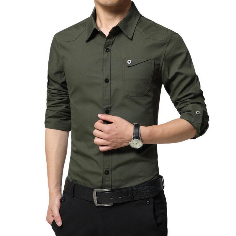 LiSENBAO Plus Size M-5XL Hoge kwaliteit Zomer heren militair uniform stijl mannen Casual shirt met lange mouwen leisure Casual Shirt Heren
